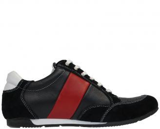 Спортни обувки от естествена кожа сини QBVD-10039