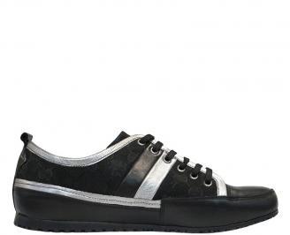 Стилни мъжки обувки - естествена кожа черни KSMV-10097