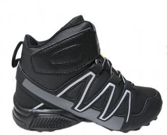 Юношески  маратонки BULLDOZER черни еко кожа LDTI-24916