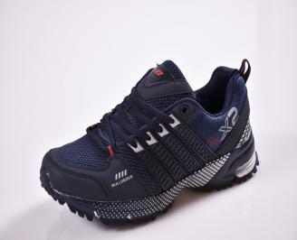 Юношески  маратонки еко кожа  текстил сини LIZS-26827