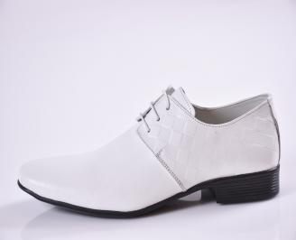 ъжки официални обувки естествена кожа бели VVPN-23395